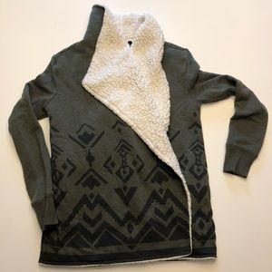 Faux Shearling & Olive Tribal Sweatshirt Sweater.